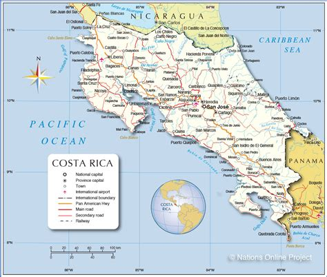 maps of costa rica detailed map of costa rica nations project
