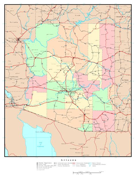 arizona on the united states map large detailed administrative map of arizona state with