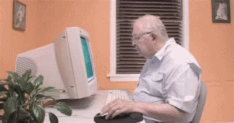 Man On Computer Meme - old man at computer drag and drop reaction gifs know