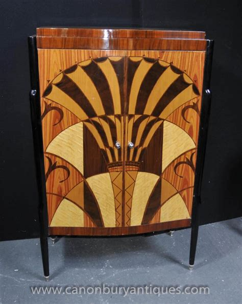 French Sideboards Art Deco Cocktail Cabinet Drinks Chest Inlay Furniture