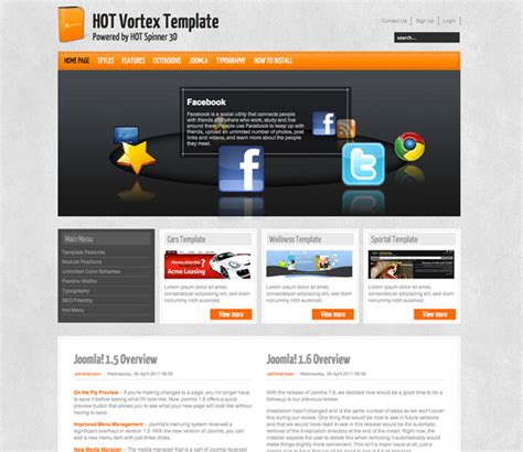 hot themes joomla templates hot vortex template with hot spinner