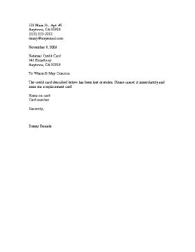 application letter for company sim card report lost or stolen credit card template