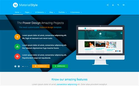 Material Style Material Design For All Bootstrap Business Corporate Templates Wrapbootstrap Material Design Website Template