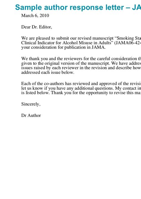 Response Letter For Manuscript The Peer Review Process