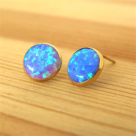 blue opal earrings blue opal earrings real gold earrings blue opal stud