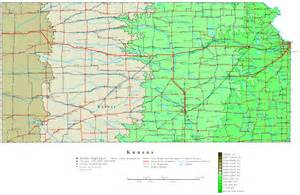 State Map Of Kansas by Kansas Contour Map
