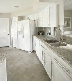 grey kitchen floor ideas white cabinets gray subway tile kashmir white granite