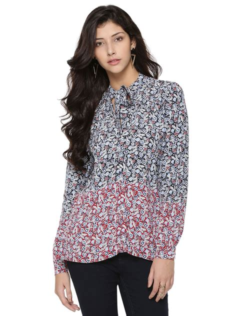 print tie neck blouse buy warehouse ditsy print tie neck blouse for