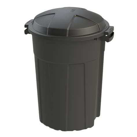 Patio Garbage Can by Shop Blue Hawk 32 Gallon Black Outdoor Trash Can At Lowes