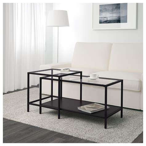Vittsj 214 Nest Of Tables Set Of 2 Black Brown Glass 90x50 Coffee Table Sets Ikea