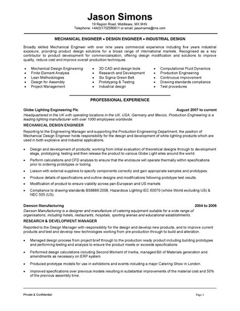 Chief Mechanical Engineer Sle Resume by Mechanical Engineering Resume Exles Search Resumes Resume Exles