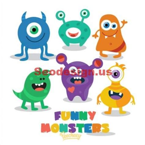 Teal Wall Art Stickers cute colored free monsters graphics download