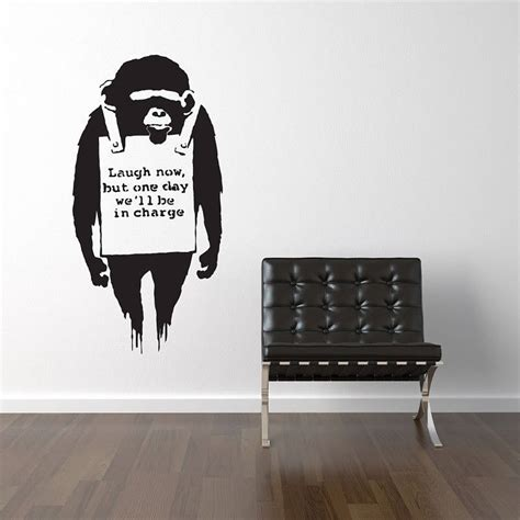 banksy wall stickers banksy laugh now wall stickers by parkins interiors notonthehighstreet