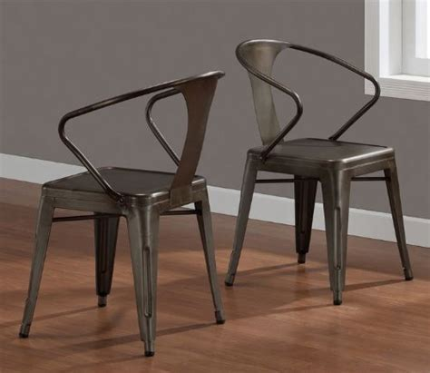Steel Dining Room Chairs Vintage Tabouret Stacking Chair Set Of 4 Steel Brown