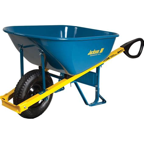 jackson 6 cu ft seamless steel wheelbarrow with total