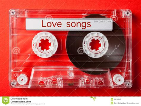 valentines day songs songs on vintage audio cassette stock photo image