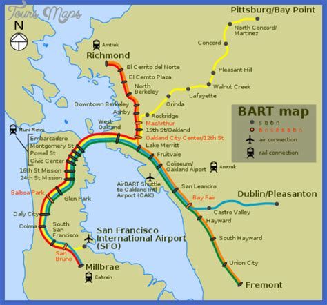 san francisco map with bart san francisco oakland subway map toursmaps