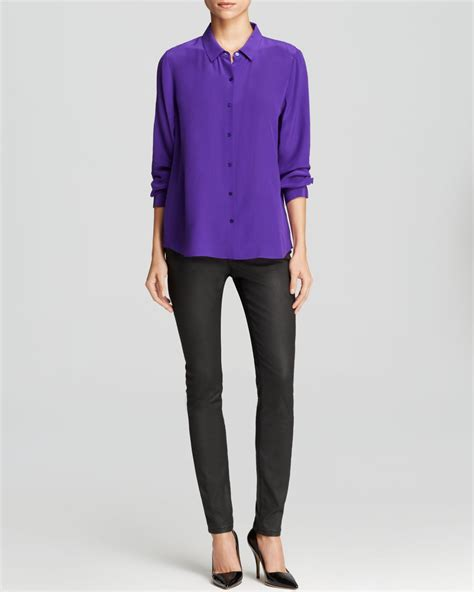 Lavender Silk Button Blouse by Eileen Fisher Silk Button Blouse In Purple Lyst