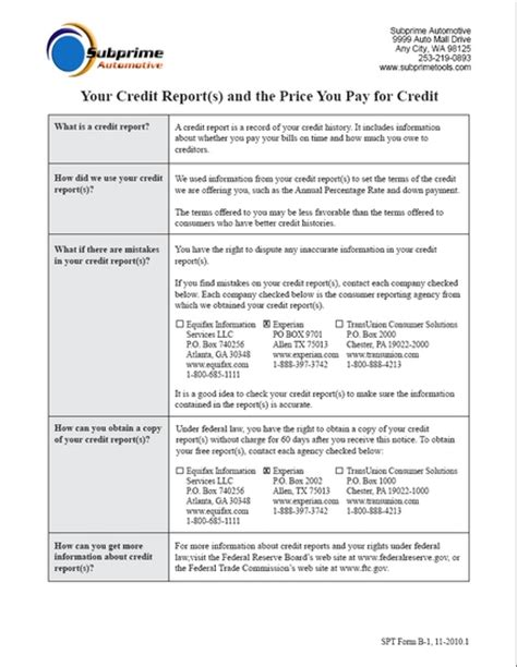 Credit Notice Form Subprime Tools What S New