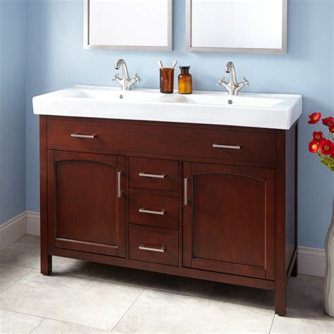 48 undermount trough sink 48 quot bates vanity walnut with trough sink