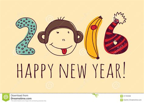 new year year of the monkey greetings monkey happy new year greeting card stock vector