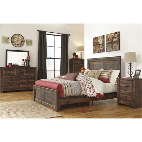 quinden ashley bedroom set bedroom furniture sets ashley quinden 5 piece wood king panel bedroom set in dark