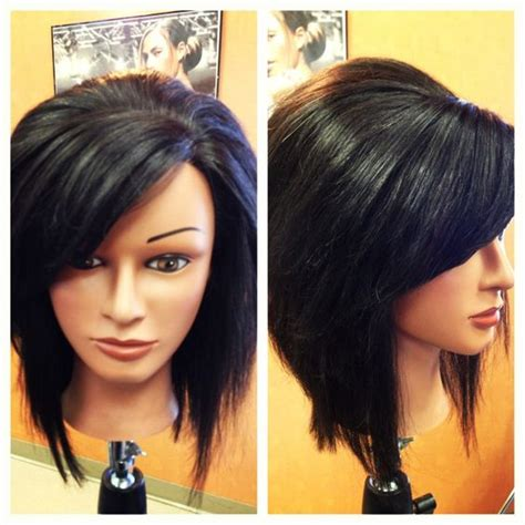 haircuts bob with swoop inverted stacked bob with swoop bangs dream hair i just