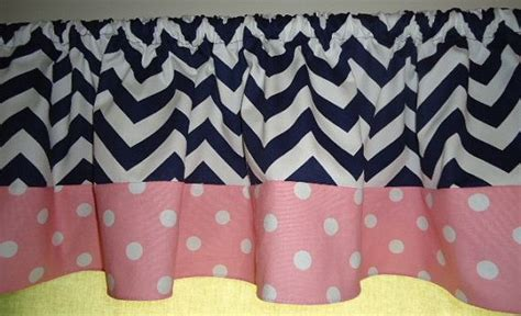 Pink And Navy Curtains Navy Blue Chevron With Pink White Polka Dots Valance Curtain Wide Rooms And Nursery