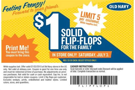 old navy coupons march 2015 old navy is offering 1 00 flip flops again just take