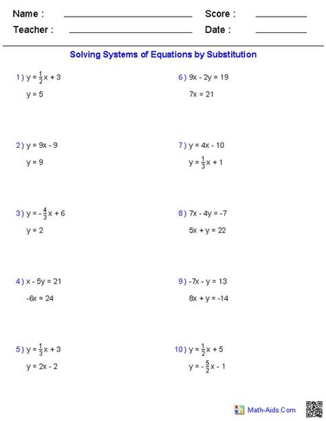 Systems Of Equations Substitution Method Worksheet Answers by Solving Systems Of Equations By Substitution Worksheet