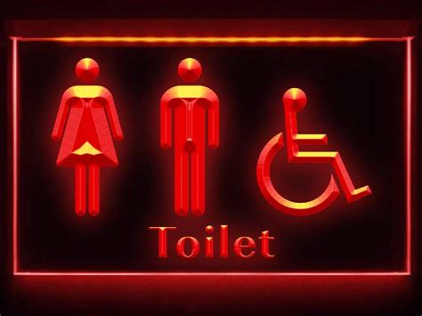 Bathroom Sign Light Td021 Unisex Toilet With Disabled Accessible Restroom
