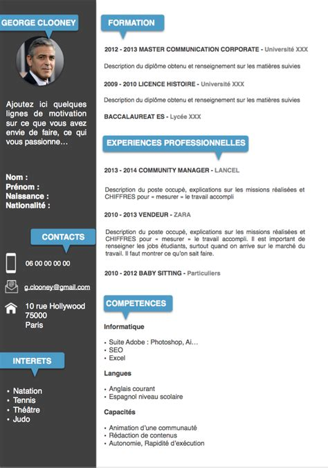 Exemple De Cv by Exemples De Cv 233 Tudiants Gratuits