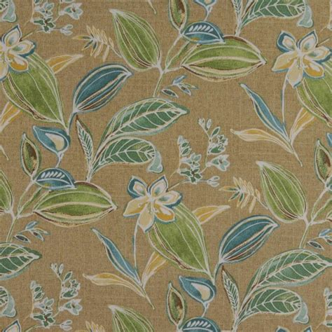 Tropical Upholstery Fabric Green Blue Gold Beige Floral Leaf Indoor Outdoor