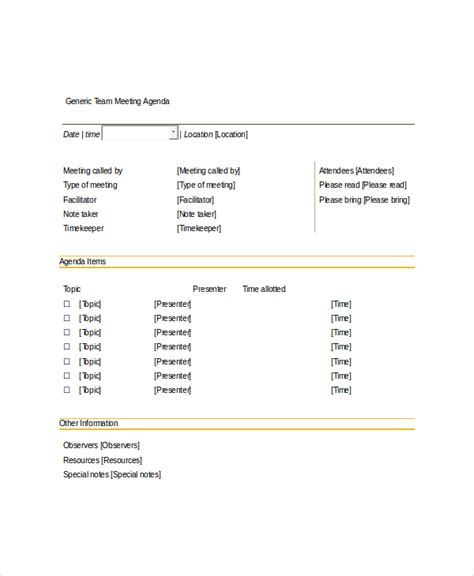 10 team meeting agenda templates free sle exle