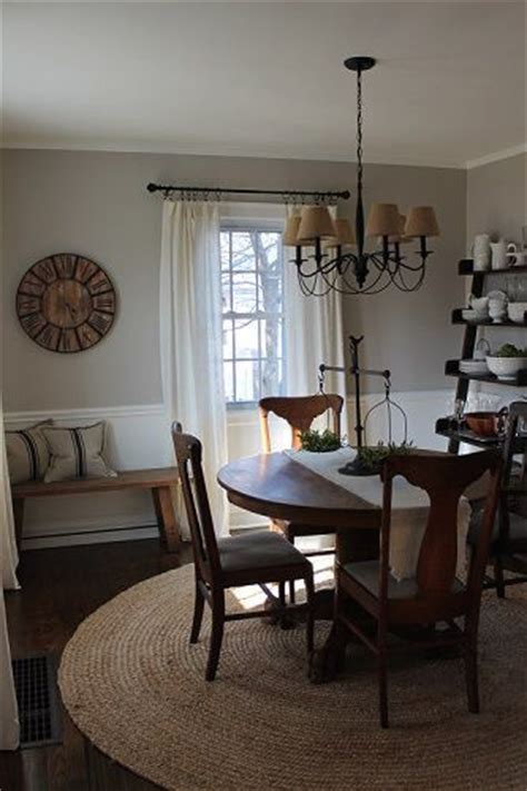 casual and neutral dining room painted benjamin fog and simply white antique table