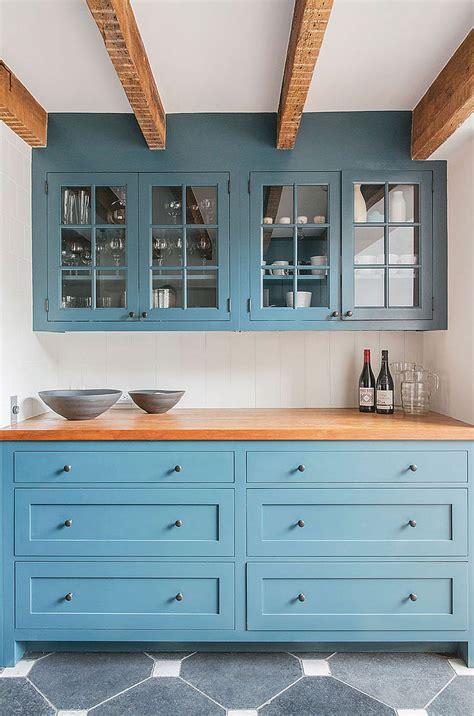 custom kitchen cabinets  blue  wooden worktop decoist