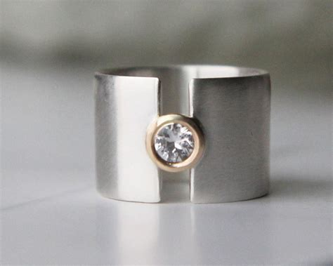 engagement ring white sapphire wide wedding band silver and