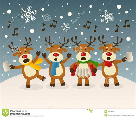 drunk reindeer singing on the snow stock vector