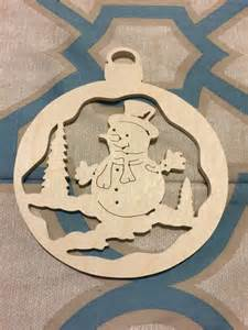 scroll sawn round wooden snowman handcrafted christmas tree