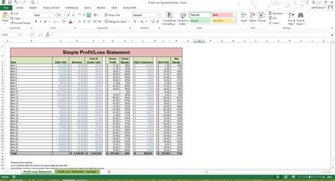 Profit Loss Statement Excel Spreadsheet Template Microsoft Profit Loss Excel Template