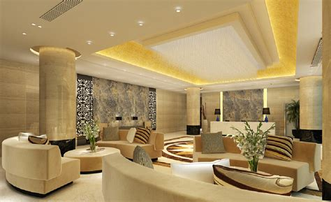 interior design suspended ceiling and sofas lobby