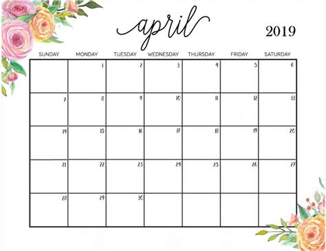 Free Printable Blank Calendar Template get april 2019 printable calendar template april 2019