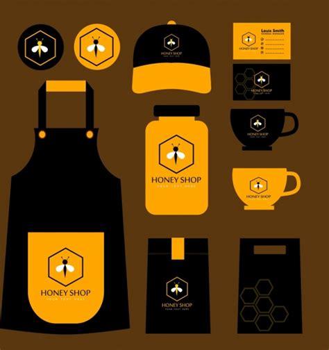 Karpet Set Motif Bee Lebah madu toko identitas set ikon lebah kuning hitam vektor icon vektor gratis gratis