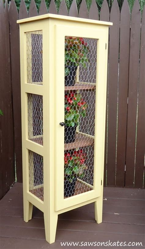 diy patio garden cabinet to display and protect plants