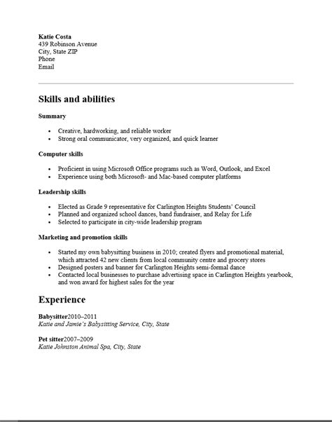 Resume Template No Experience by Resume Template For High School Student With No Experience