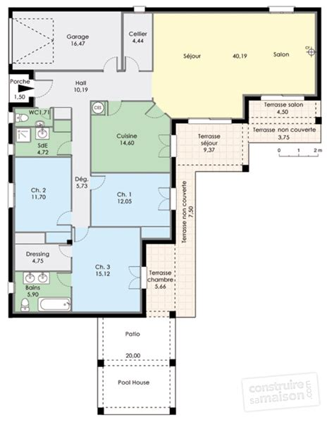 plan pavillon 100m2 plan maison 100m2 plein pied gratuit plan maison