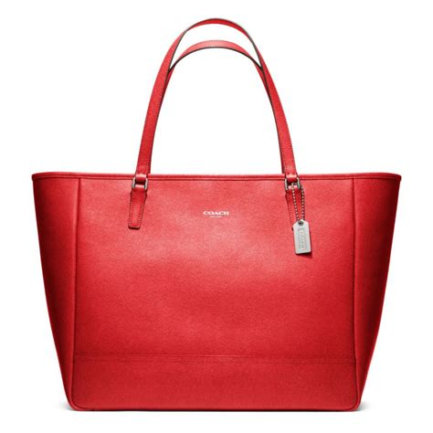 And The Citytote by Coach Saffiano Large City Tote In Silver Vermillion