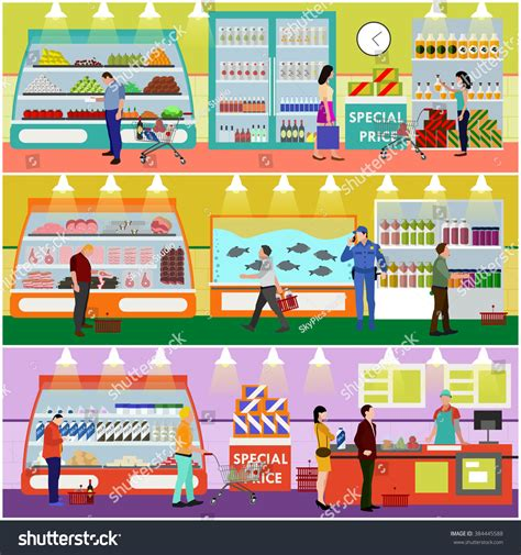 buy products supermarket interior vector illustration in flat style customers buy products in food