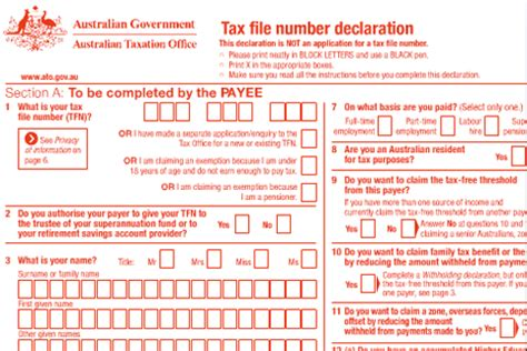 tax declaration form download 2016 tfn declaration now available online national retail
