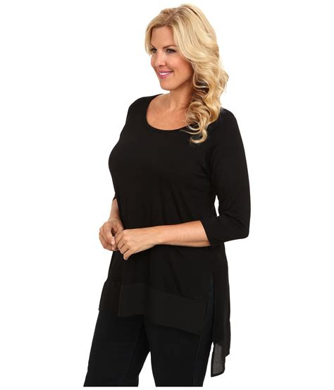 plus size mix and match plus plus size blue moon mix and match contrast hem tunic in black lyst